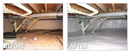 Before and After Image of Crawl Space Incapsulation by Foundation Solutions 360.